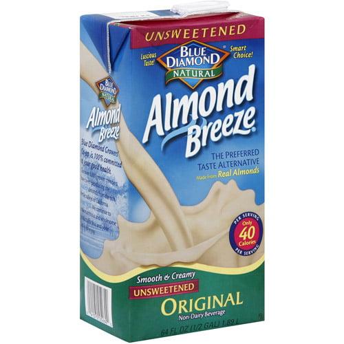 Blue Diamond Almond Breeze Unsweetened Almondmilk, 64 fl oz, (Pack of 8)