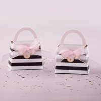 Kate Aspen Striped Purse Favor Box, Perfect Party Favor Container & Decoration for Bridal Showers, Baby Shower, Birthdays, Bachelorette Party, Anniversary, Engagement or Wedding Favors - 48pcs