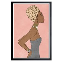 Wynwood Studio 'Prowess Queen Blush' Fashion and Glam Framed Wall Art Print - Pink, Brown