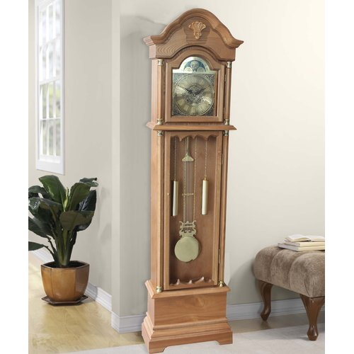 Alcott Hill 72'' Wood Floor Standing Grandfather Clock by