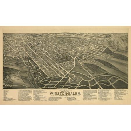 Old Map of Winston Salem North Carolina 1891 Forsyth County Canvas Art -  (18 x 24) ()