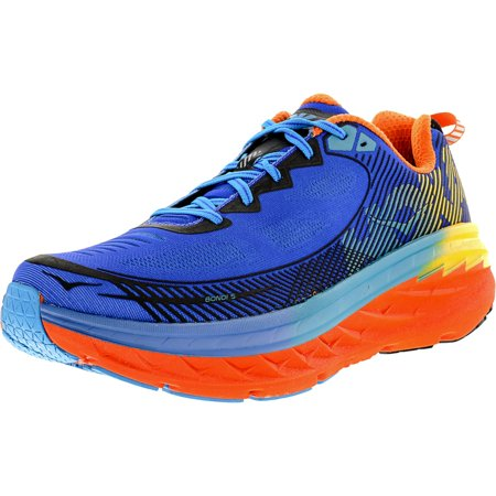 sports shoes baccf 66ba6 Hoka One Men's Bondi 5 Blue / Red Orange Gold Fusion Ankle ...