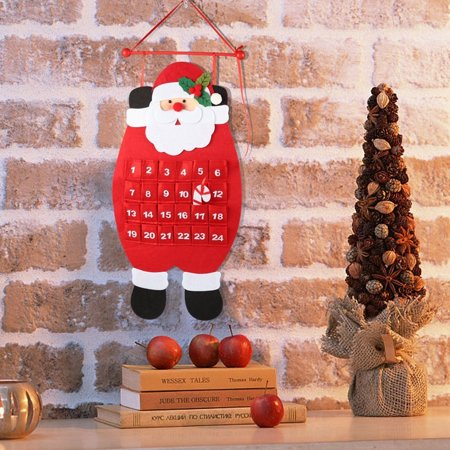 Santa Christmas Advent Calendar 2019, 3D Felt Haning Advent Calendar Reusable Countdown to Christmas Calendar for Kids Christmas Decorations ()