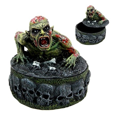 Atlantic Collectibles Zombie Walking Dead Crawling Out Of The Grave Decorative Jewelry Box Figurine 4.5