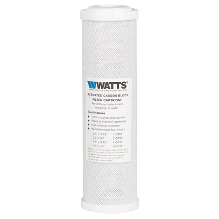 "Watts (F109009) 9.75""x2.75"" Coconut Carbon Block 5 Micron Filter"