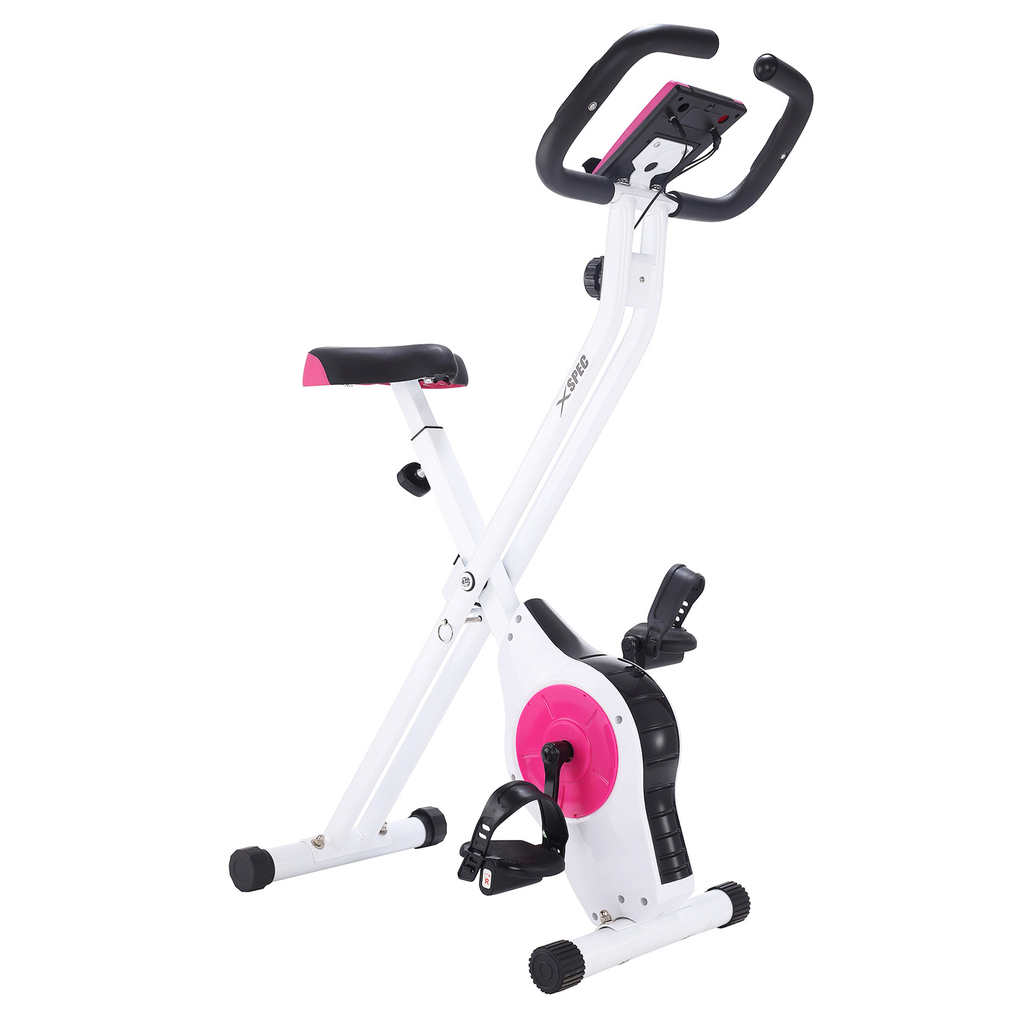Xspec Foldable Stationary Upright Exercise Bike Workout Indoor Cycling Pink