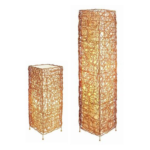 ORE International Rattan Rectangle Floor and Table Lamp Set