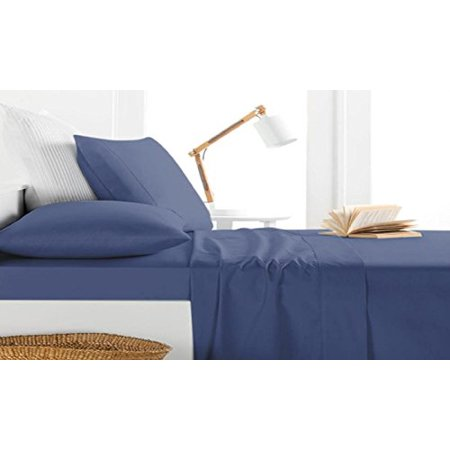 Milan Collection 1000 Thread Count 100%Cotton 4 PC Sheet Set (King, Navy)
