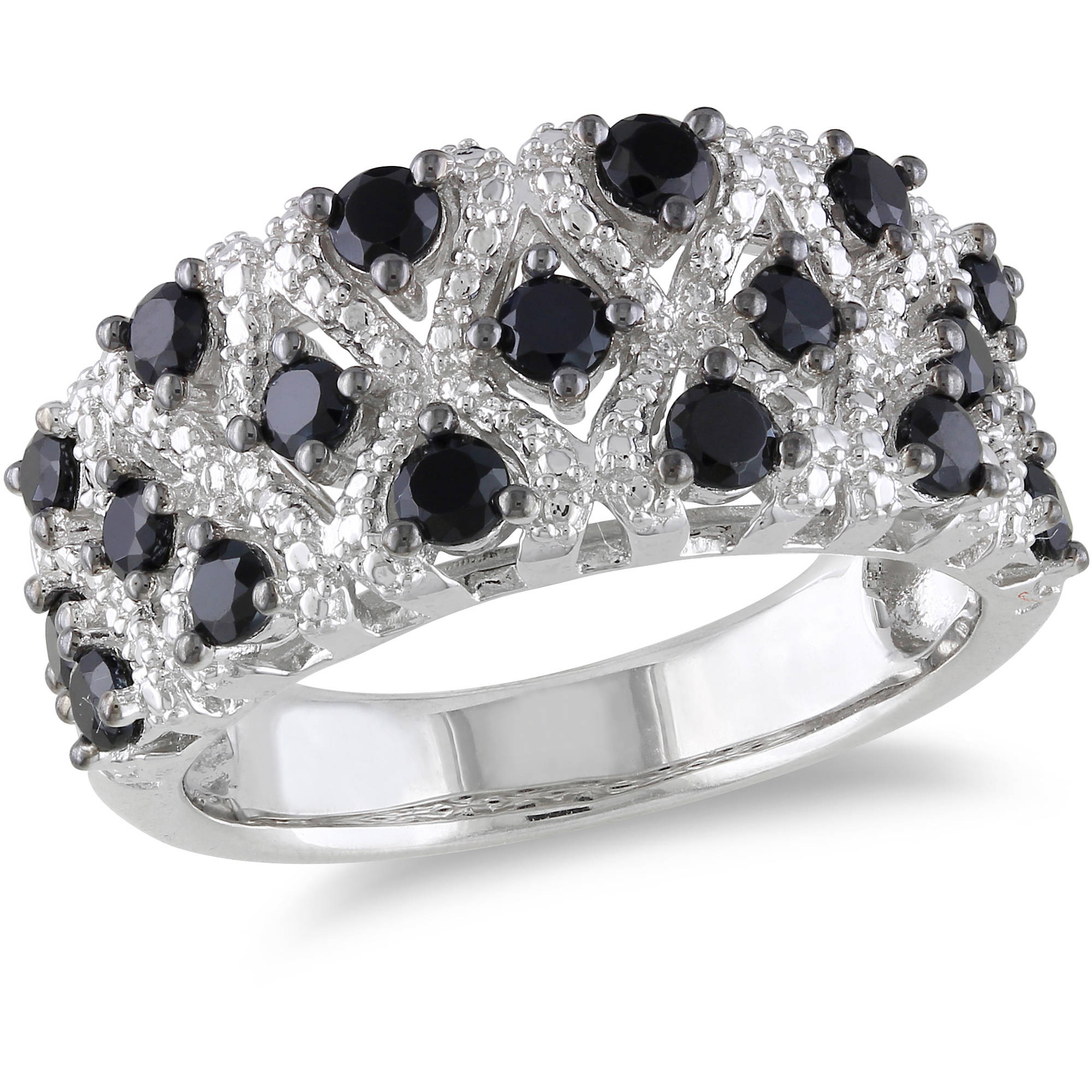 1-1/2 Carat T.G.W. Black Spinel Sterling Silver Fashion Ring