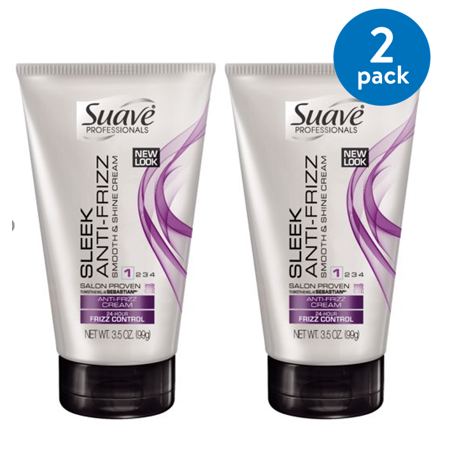 (2 pack) Suave Professionals Sleek Anti Frizz Cream, 3.5 oz (Anti Frizz Moisturizer)