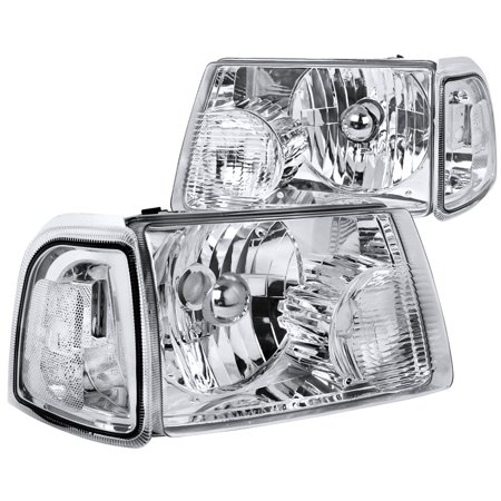 Spec-D Tuning For 2001-2011 Ford Ranger Chrome Crystal Headlights + Corner Lights Turn Signal Lights 2001 2002 2003 2004 2005 2006 2007 2008 2009 2010 2011 (Left+Right)