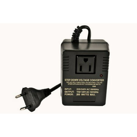 VCT VM 200 Deluxe Step Down Voltage Converter for Travel to 220V / 240V Countries - 200Watts TRANSFORMER PURCHASE GUIDE: Remember to leave at least a 100% slack for the transformer.Do NOT use these light converters for kitchen appliances, tools, coffee machines or straightening irons.