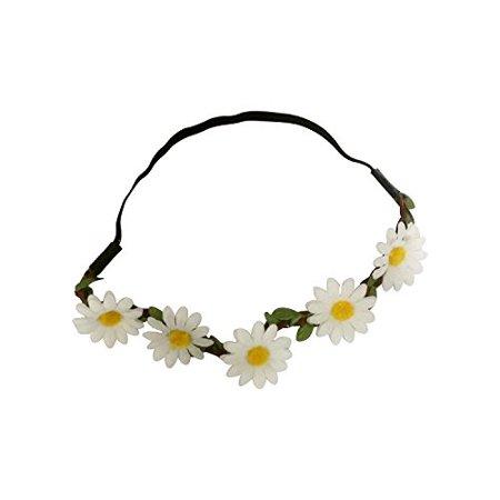 Art Attack White Daisy Dasies Sun Flower Crown Boho Floral Bohemian Leaf Braided Stretch Fashion Festival Hair Headband Head Wrap