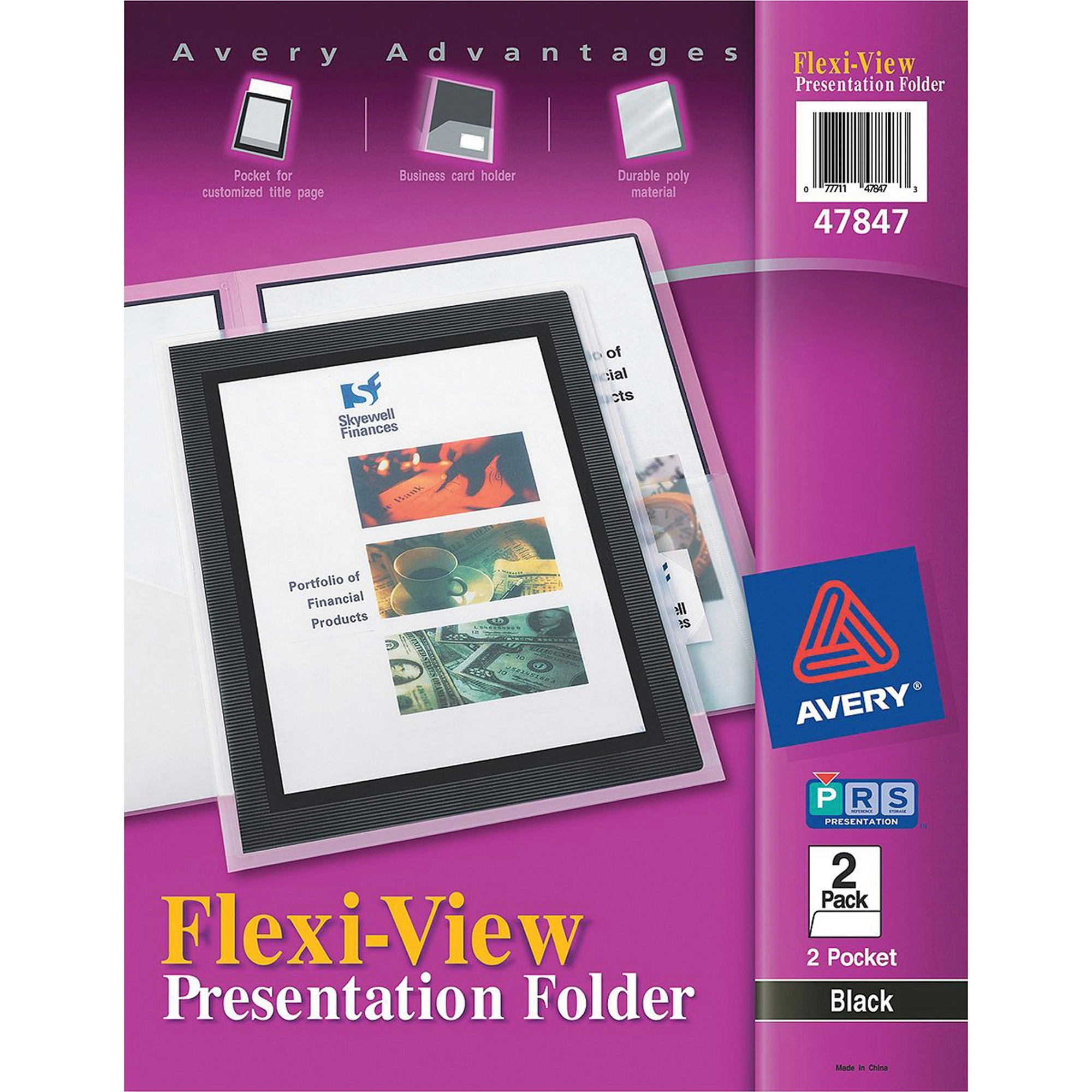 Avery Flexi-View Two-Pocket Polypropylene Folder, Translucent Black, 2 Pack by Avery