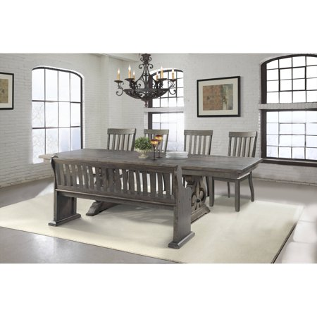 Picket House Furnishings Stanford 6 Piece Dining Set Table  4 Side Chairs And Pew Bench