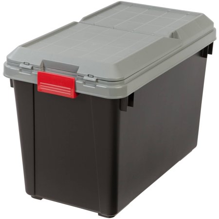 IRIS 102 Qt. Store-It-All Plastic Storage Tote with Compartment Lid, Black/Gray