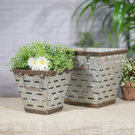American Mercantile Metal Square Olive Bucket Planters - Set of 2](Square Buckets)