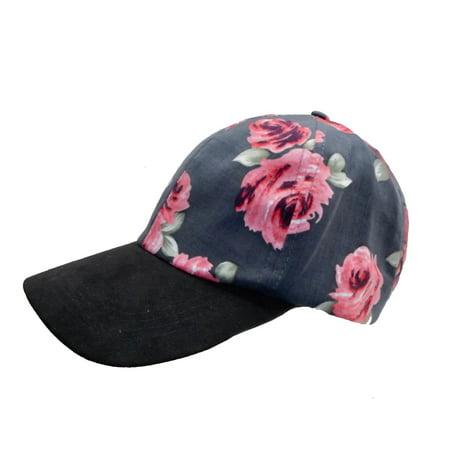 I.N.C. Floral Faux-S Women's Baseball Cap Hat Black Rose