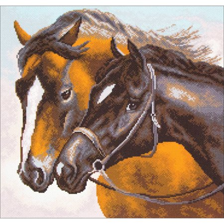 Horse Cross Stitch - Collection D'Art Stamped Cross Stitch Kit, 41cm x 41cm, Horses