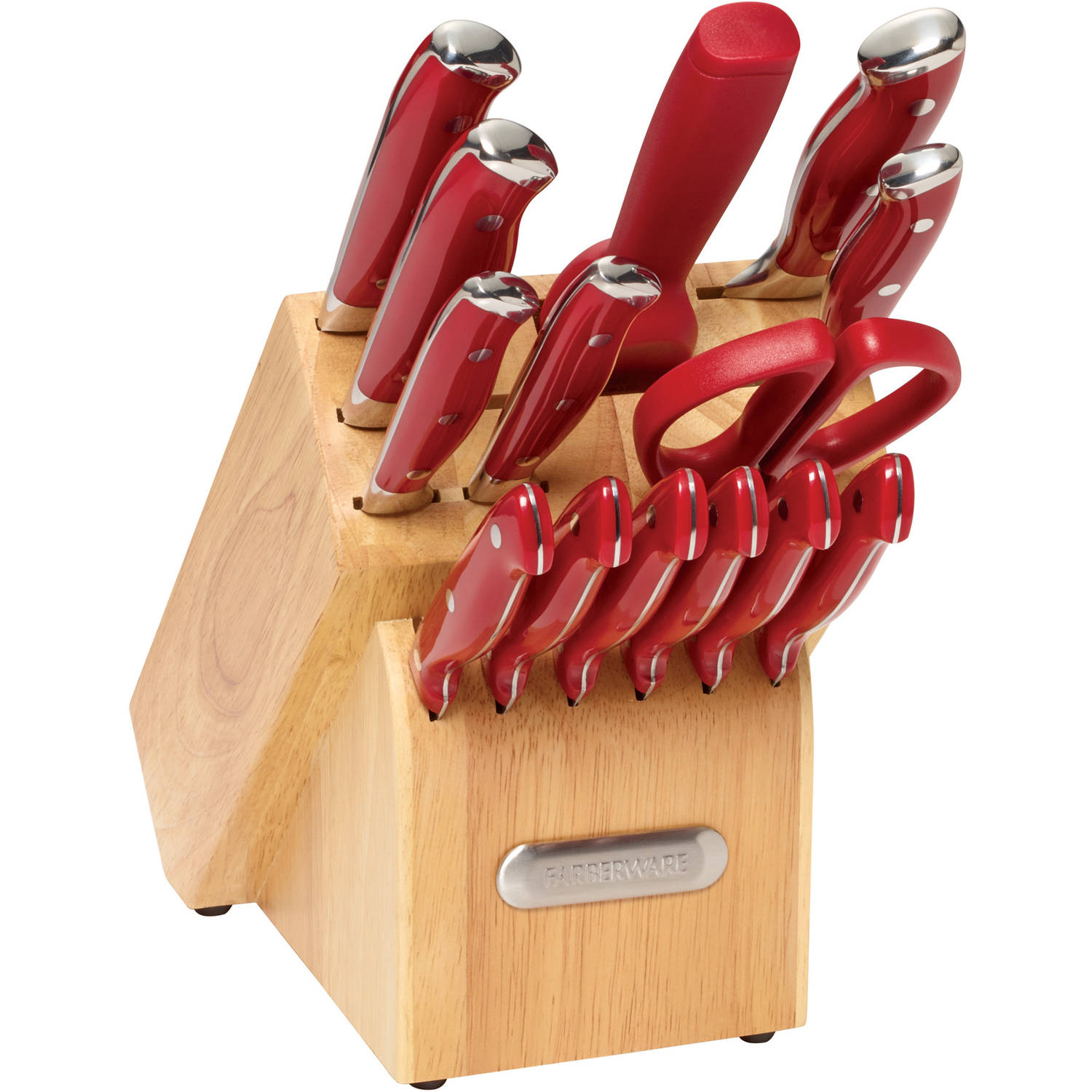 Farberware 15-Piece Forged Triple Riveted Cutlery Set, Red with EZ Angle Sharpening Steel