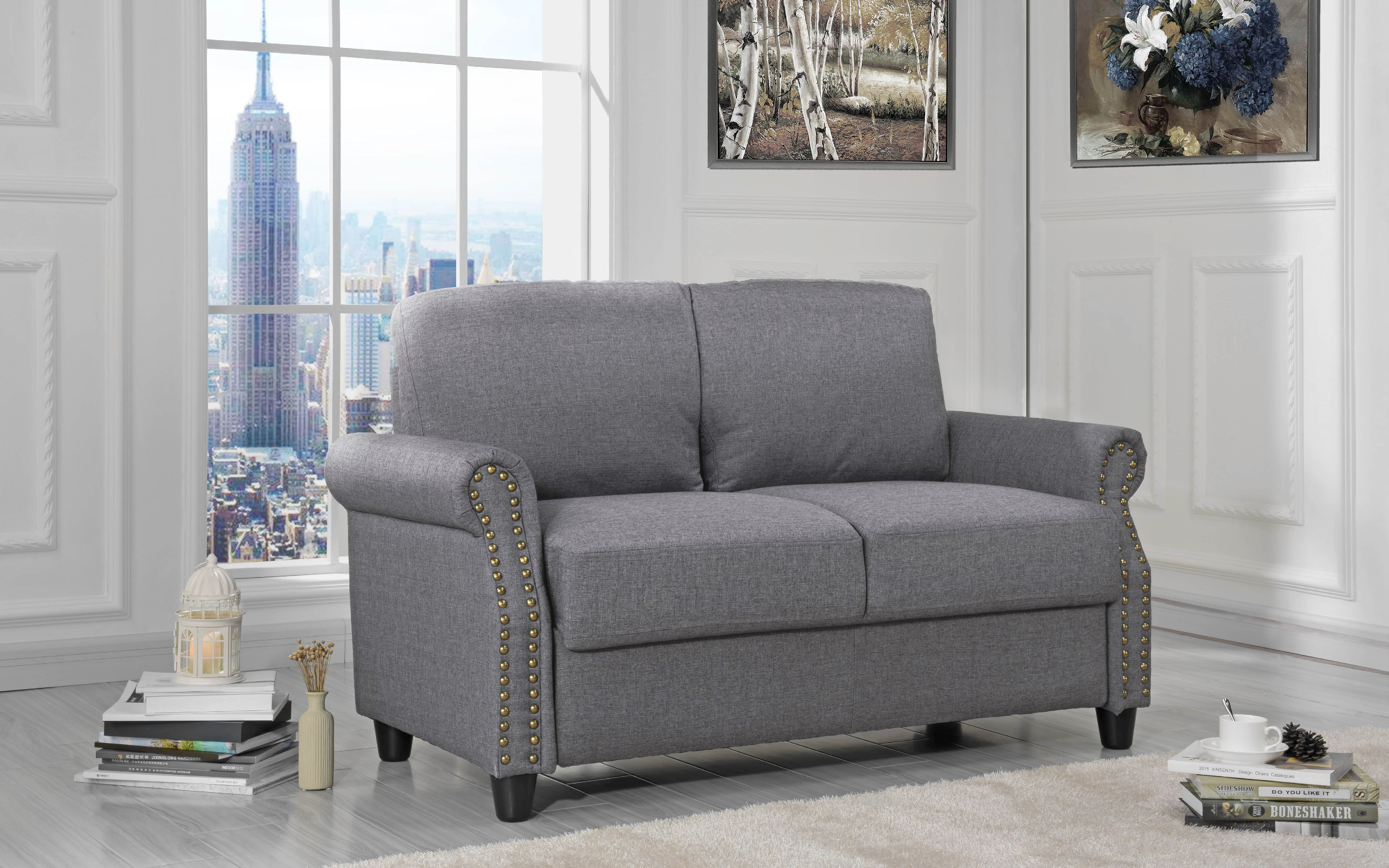 Classic Linen Loveseat With Nailhead Trim And Storage Space, Light Gray    Walmart.com