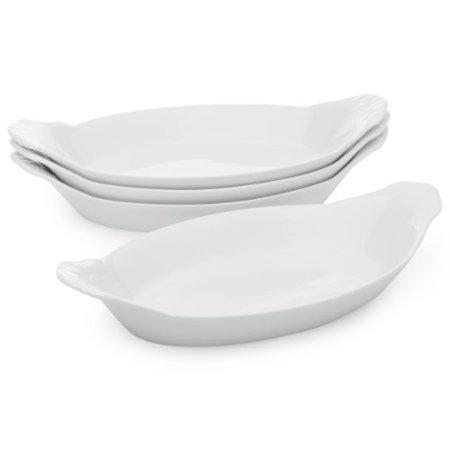 HIC Oval Au Gratin Baking Dishes, Fine White Porcelain, 10-Inch, Set of 4 Deep Oval Baking Dish