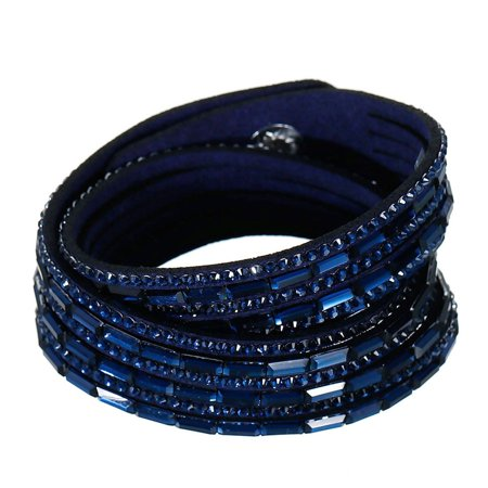 Sexy Sparkles Suede Velvet Multi Layer Wrap Women Teen Girls Bracelet with Rhinestones Dark Blue Slake Button Clamp Adjustable