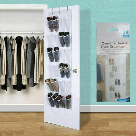 Kingslim 24 Pocket Over the Door Shoe Organizer Hook Holder Storage Hanger Space Saver Closet Hanging Clear