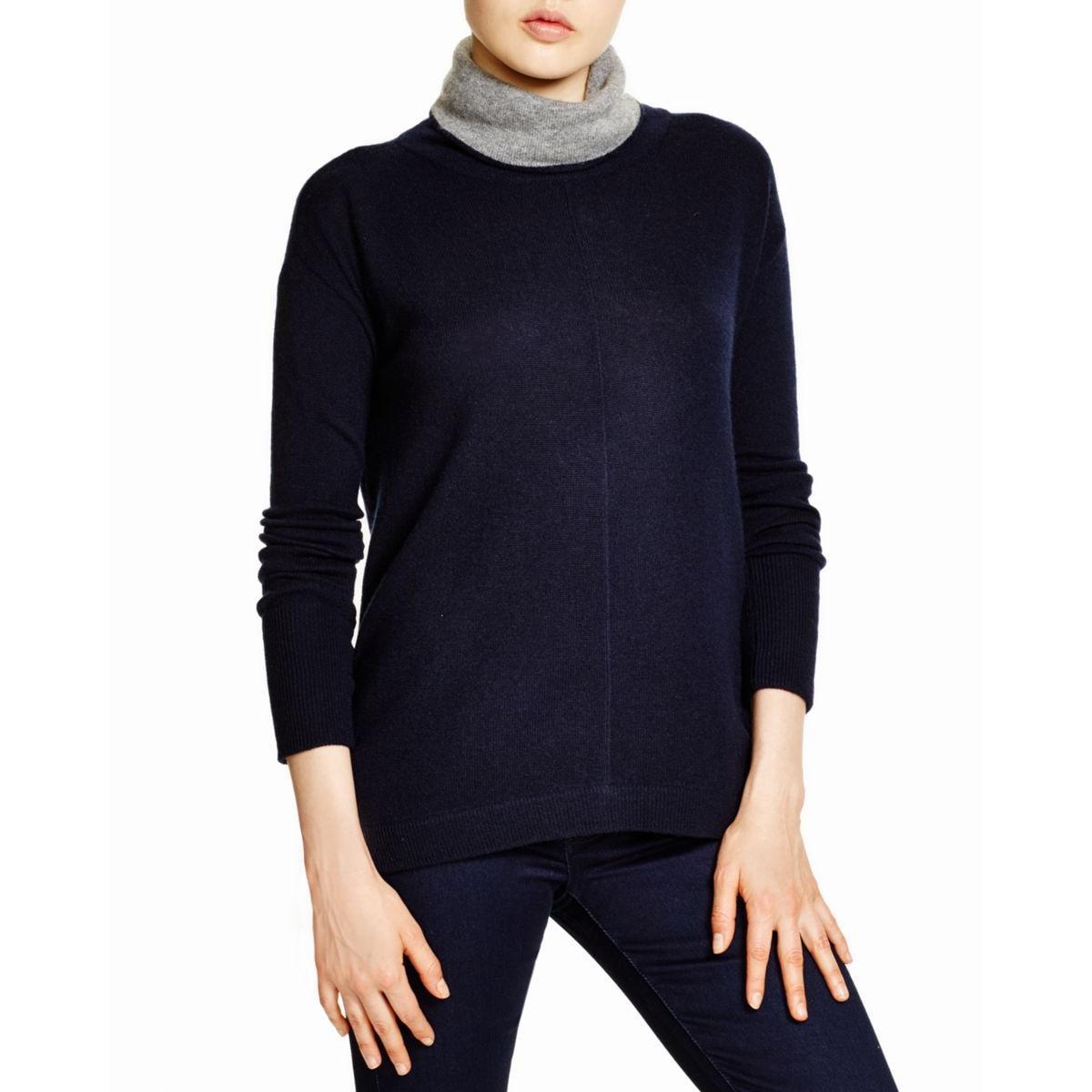 Magaschoni Womens Cashmere Colorblock Turtleneck Sweater