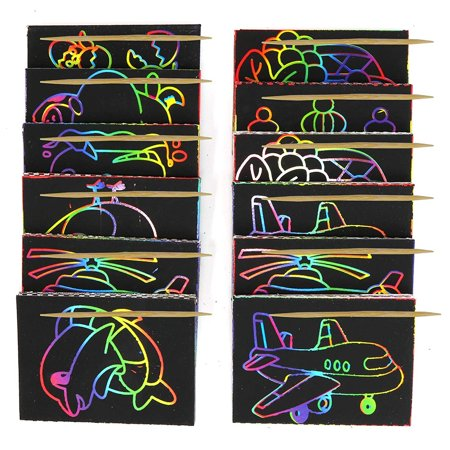 Big Mo's Toys Scratch Art - Color and Scratch Cards Party Favors with Stylus - 20 Pieces - Big Top Party Rentals