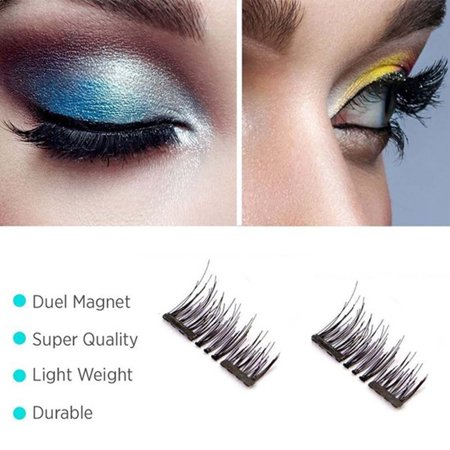 Natural Dual Magnetic Eyelashes Makeup -4Pcs Ultra Thin 3D Reusable Fiber Fake Lashes Extension, No Glue (Best Eyelash Extension Glue On The Market)
