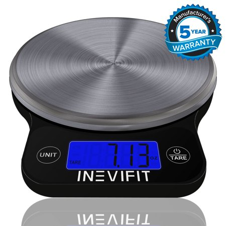 Inevifit Black Stainless Steel Digital Food Scale, Highly Accurate 13 Lbs 6Kgs Max