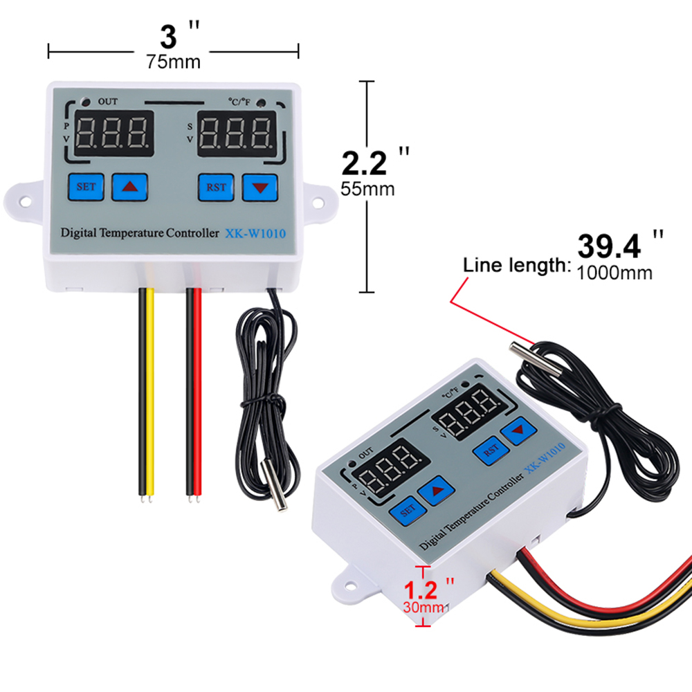Digital Thermostat C//F Temperature Controller for incubator Relay LED 10A Heater Cooler Direct Output XK-W1010 AC110-220V