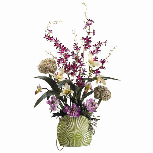 Allstate Floral 36'' Orchid, Allium and Candytuft with Ceramic Vase
