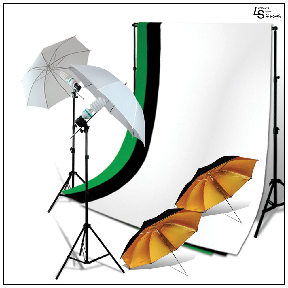 2x 45W Lighting Kit with 2x Black/Gold Umbrellas, 2x White Umbrellas, 2x Stands, 3x Muslins, & Backdrop Support by Loadstone Studio WMLS0884