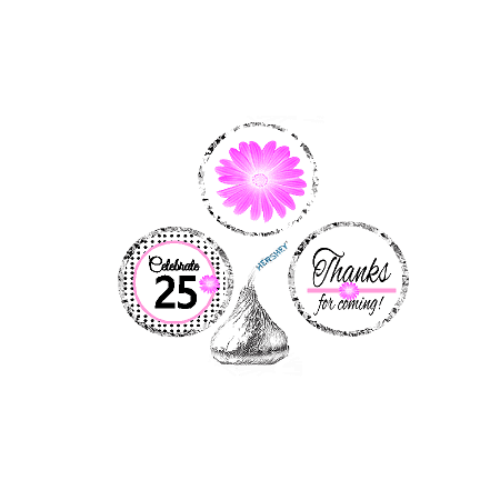 CakeSupplyShop Item#025BPH 25th Birthday / AnniversaryPink Black Polka Dot Party Favor Hershey Kisses Candy Stickers / Labels -216ct (25th Anniversary Favors)
