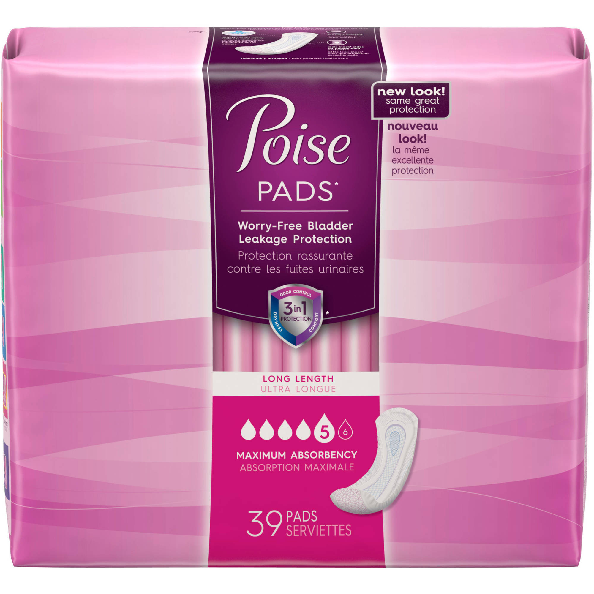 Poise Maximum Absorbency Long Incontinence Pads, 39 count