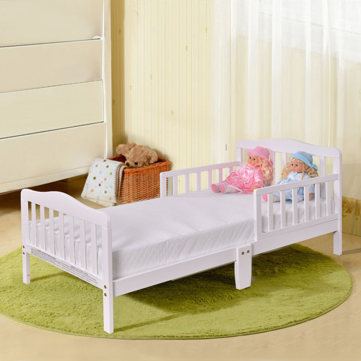 Costway Baby Toddler Bed Kids Chirldren Wood Bedroom Furniture w/ Safety Rails White