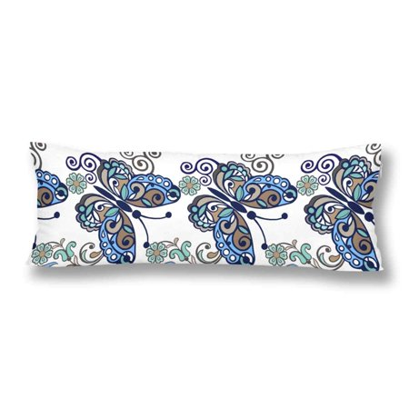 ABPHOTO Striped Floral Butterfly Vintage Flower Ornament Blue Color Body Pillow Covers Case Protector 20x60 inch
