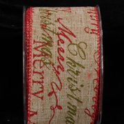 """Pack of 2 Classic Brown Holiday Red and Green Script Wired Ribbon 2.5"""" x 40 yards"""