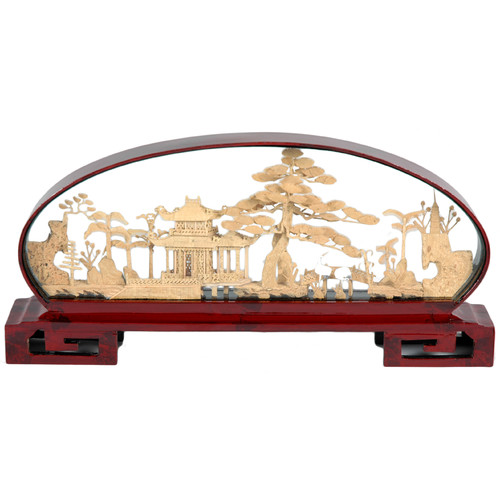 Oriental Furniture Pine and Pagoda Cork Carving Sculpture