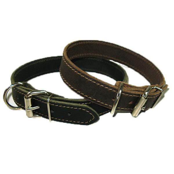 """1"""" Handmade Solid Buffalo Leather Dog Collar with Stitched Edges - image 2 of 5"""