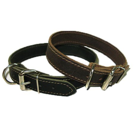 "1"" Handmade Solid Buffalo Leather Dog Collar with Stitched Edges - image 2 of 5"