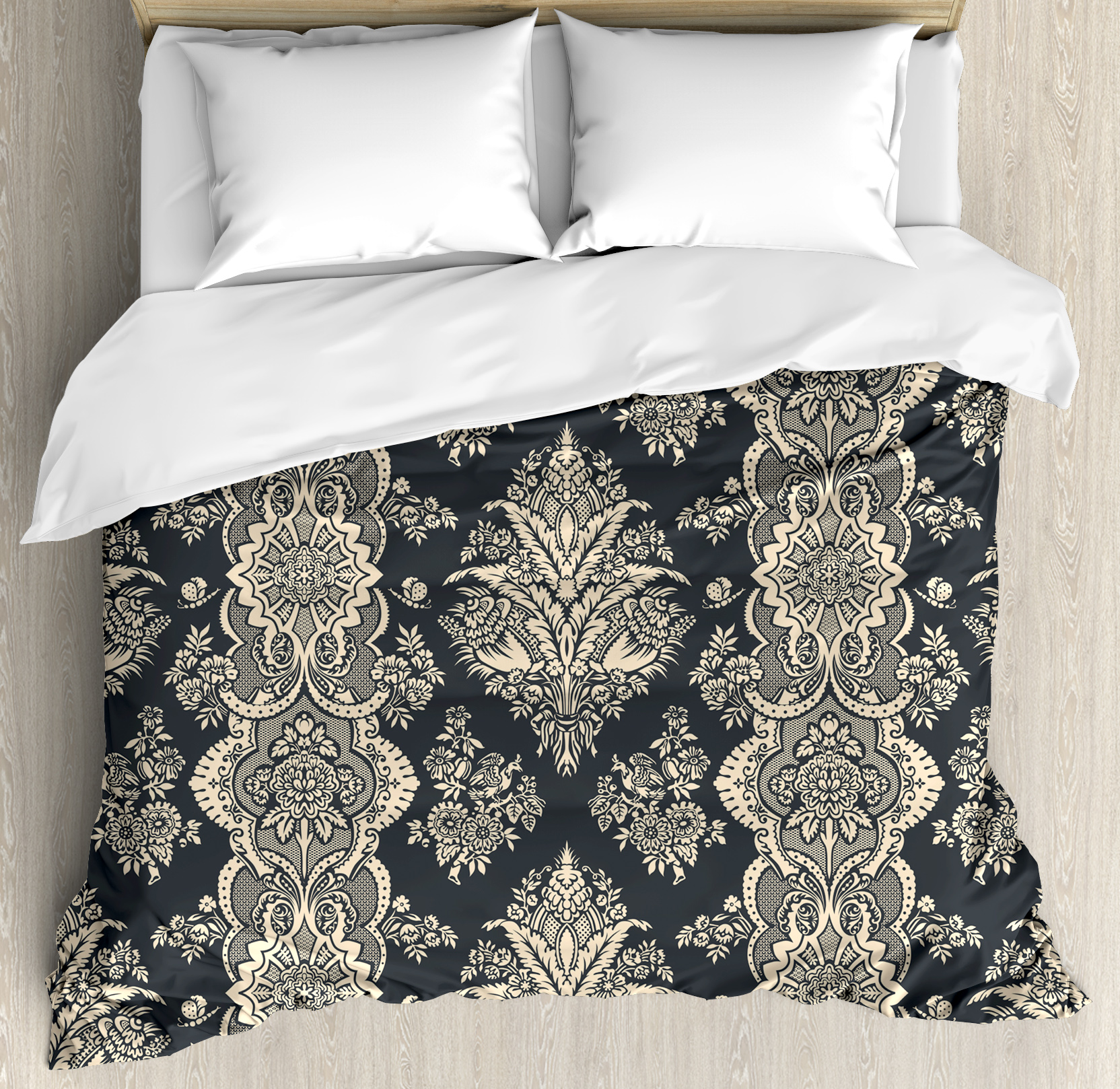 Damask Duvet Cover Set, Victorian Style Baroque Classic Pattern with Ornamental Floral Leaves Image, Decorative Bedding Set with Pillow Shams, Charcoal Grey Cream, by Ambesonne