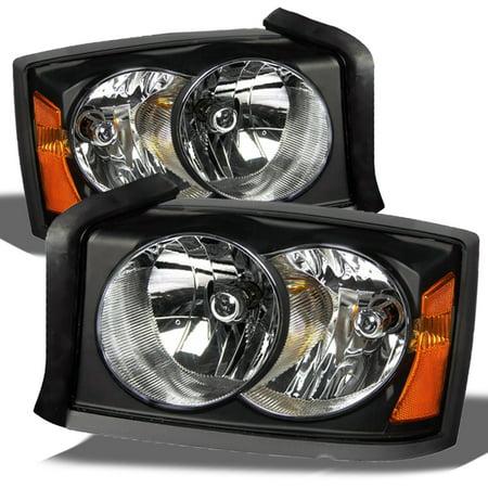 Fit 2005 2006 2007 Dodge Dakota Black Bezel Replacement Headlights L+R (2004 Dodge Dakota Light)