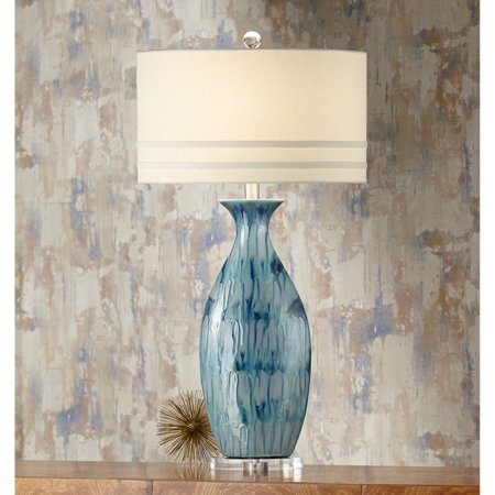 Possini Euro Design Coastal Table Lamp Ceramic Blue Drip Vase Handcrafted Off White Oval Shade for Living Room Family Bedroom