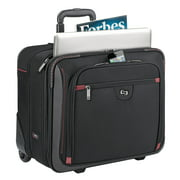 """Solo Executive Rolling Overnighter, 16"""", 16 1/2 x 8 1/2 x 13 1/2, Black/Red Accents"""