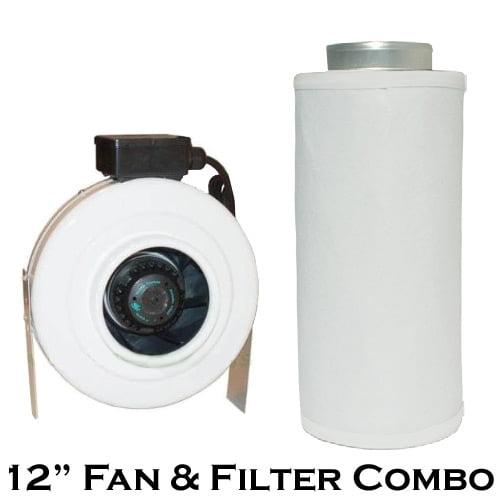 "Gro1 12"" 969 CFM In-line Duct Exhaust Fan & Funk Filter C..."