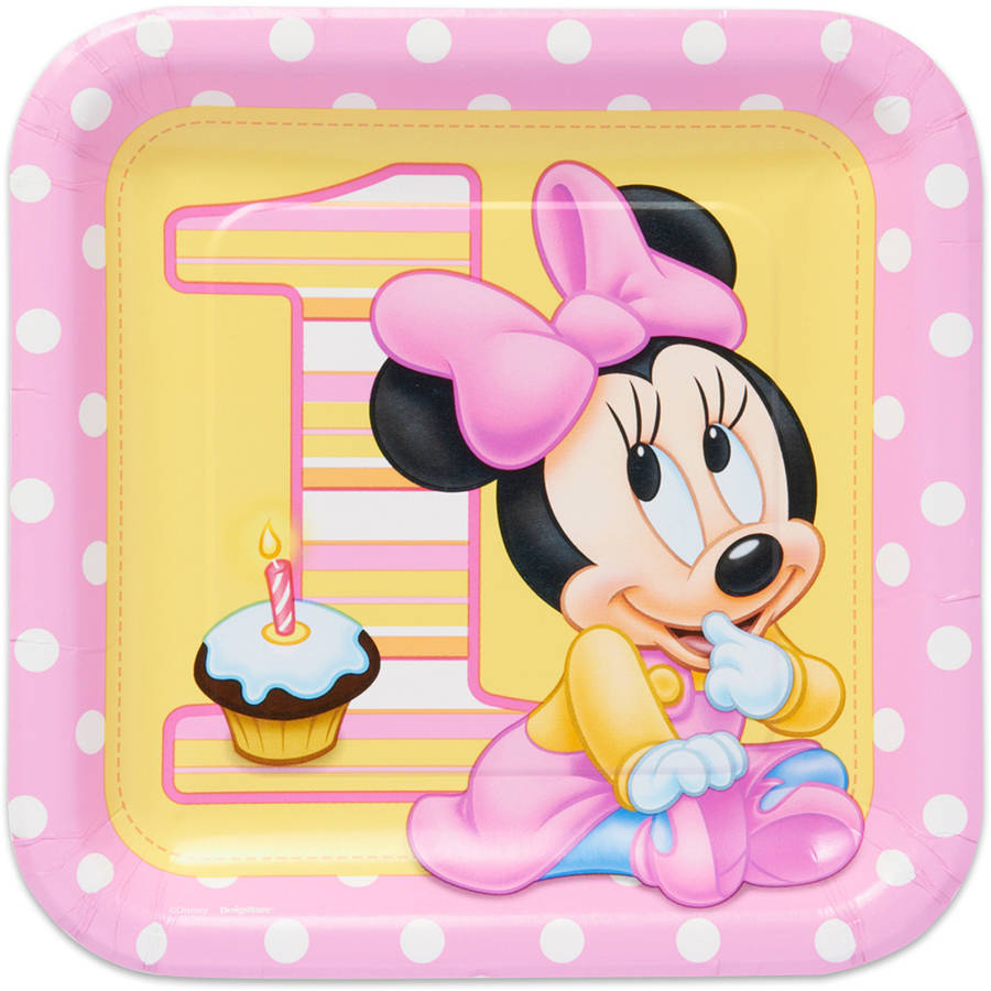"""Minnie Mouse First Birthday 9"""" Square Plate, 8 Count, Party Supplies"""