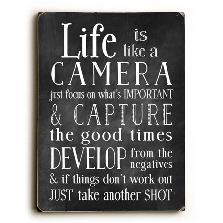 One Bella Casa 0004-7512-25 9 x 12 in. Life is Like a Camera Solid Wood Wall Decor by Nancy Anderson Solid Wood Wall